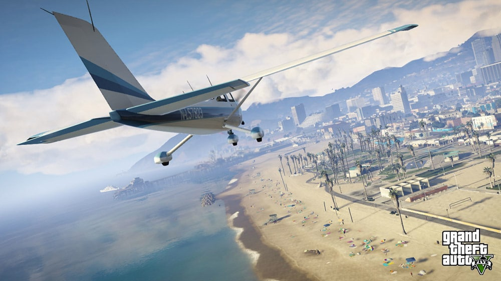 Grand Theft Auto 5 Sky Plane and Beach Screenshot