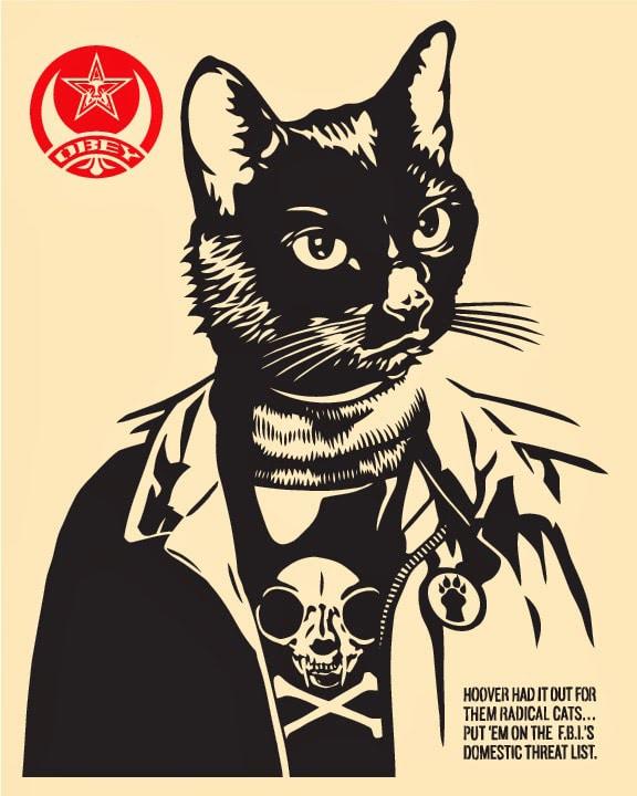 Radical Cat Print by Shepard Fairey