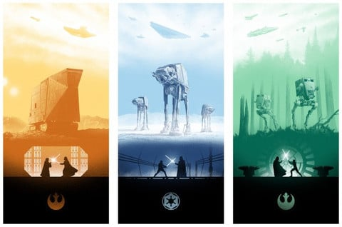 Star Wars Trilogy Print Set By Marko Manev