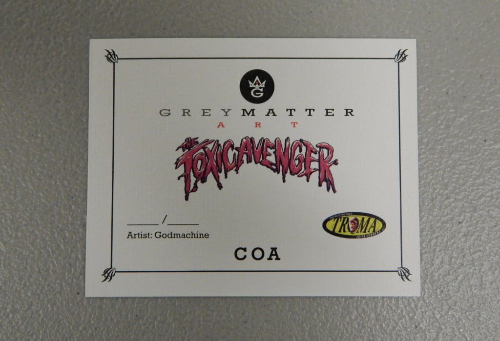 Troma Toxic Avenger Certificate of Authenticity