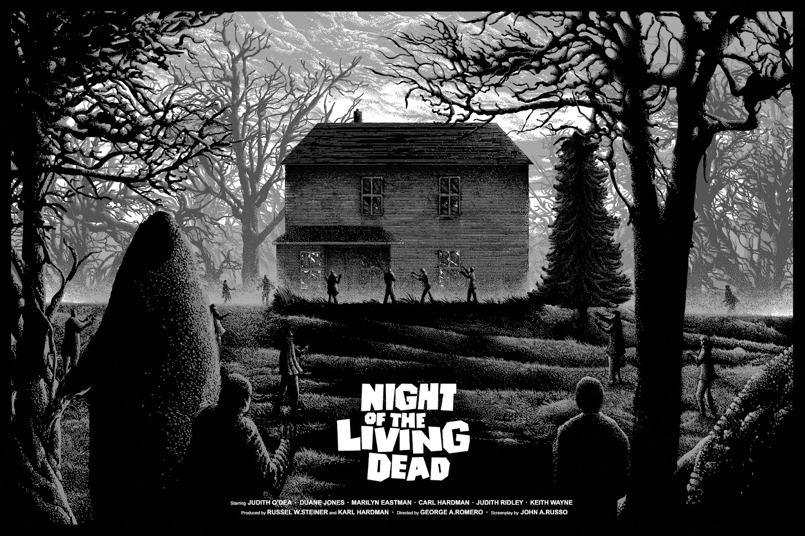 Night of the Living Dead BW Movie Poster Print