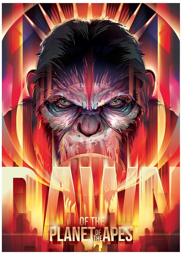 Dawn of the Planet of the Apes Coronation of Caesar Print
