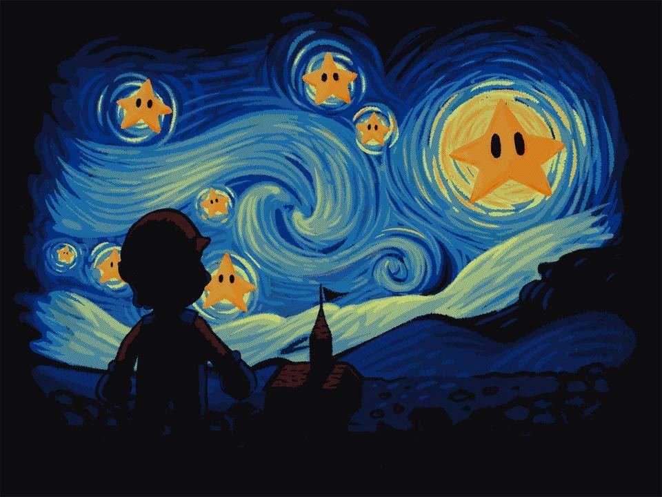 Mario Brothers Starry Night Print