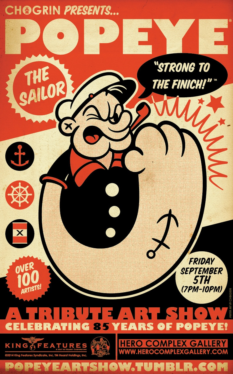 Popeye Tribute Art Show Flyer