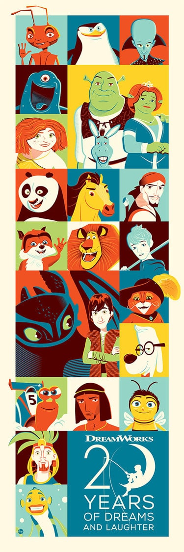 20 Years of DreamWorks Animation Print by Dave Perillo