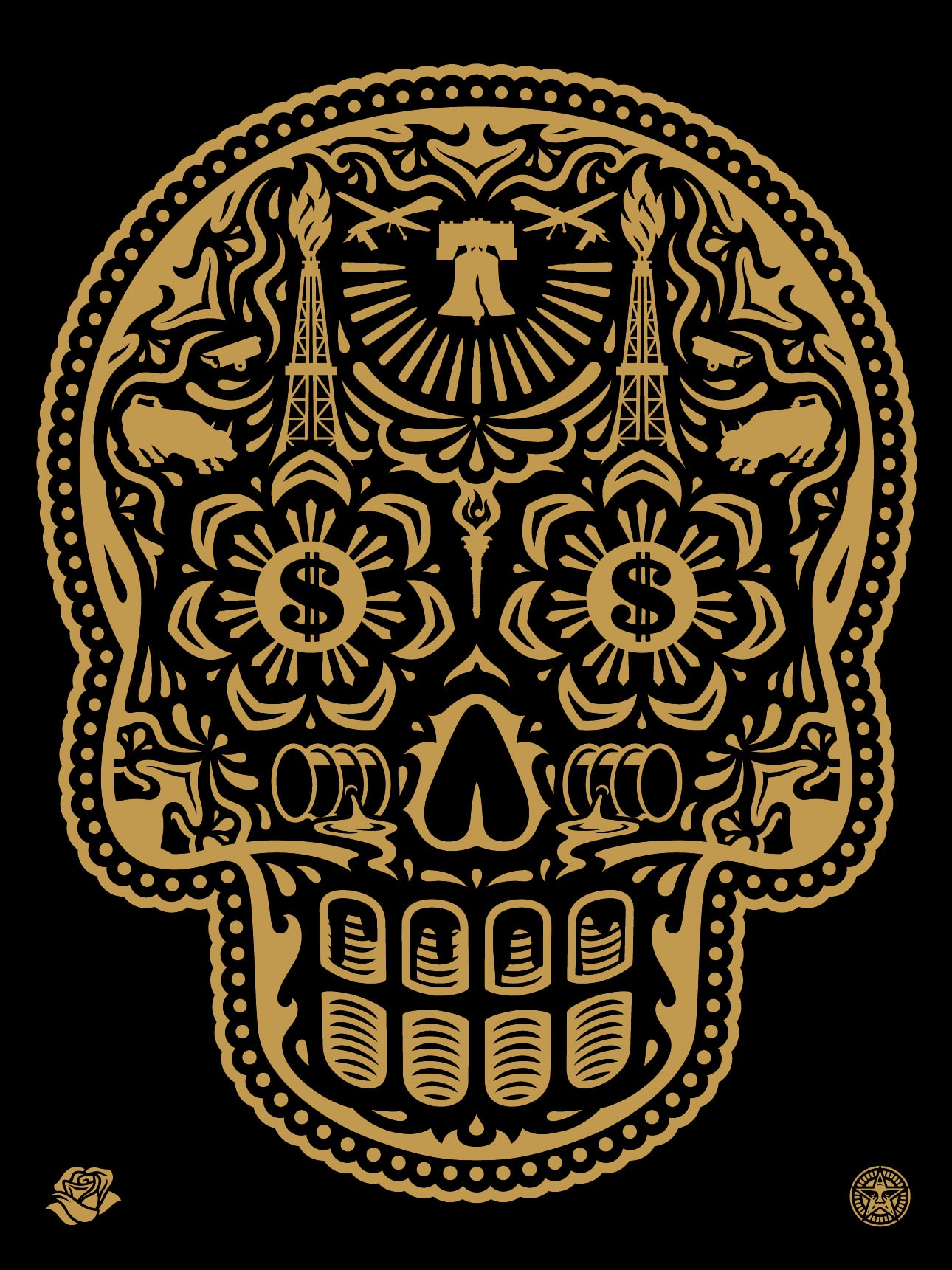 Power & Glory Day of the Dead Skull Print Gold