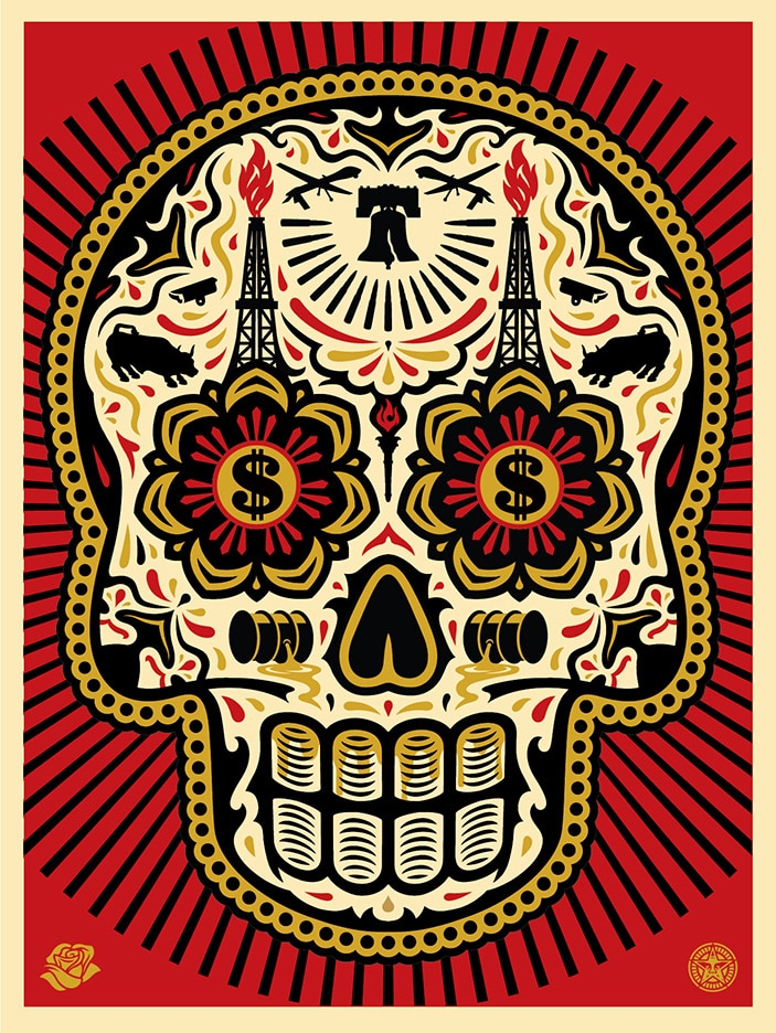 Power & Glory Day of the Dead Skull Print Red