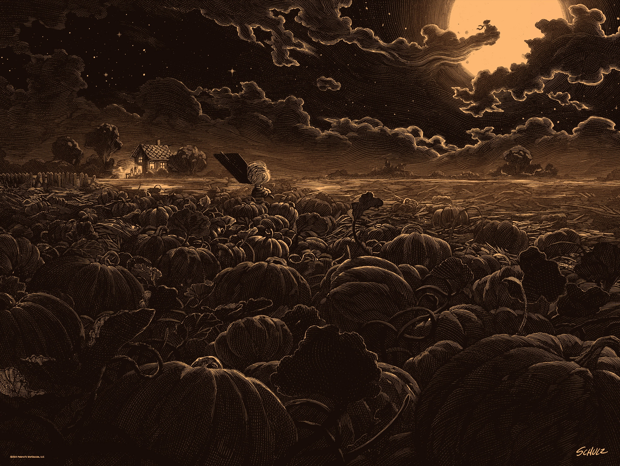 It's The Great Pumpkin, Charlie Brown Color Print by Nicolas Delort