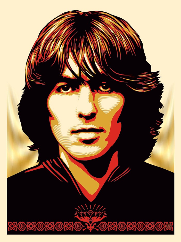 George Harrison Red Print by Obey
