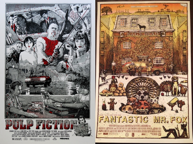 Pulp Fiction and Fantastic Mr. Fox Prints by David Welker