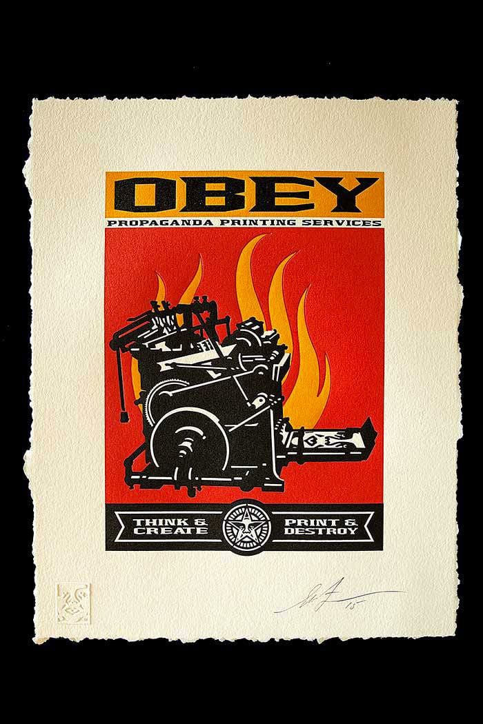 Print and Destroy Letterpress by Obey