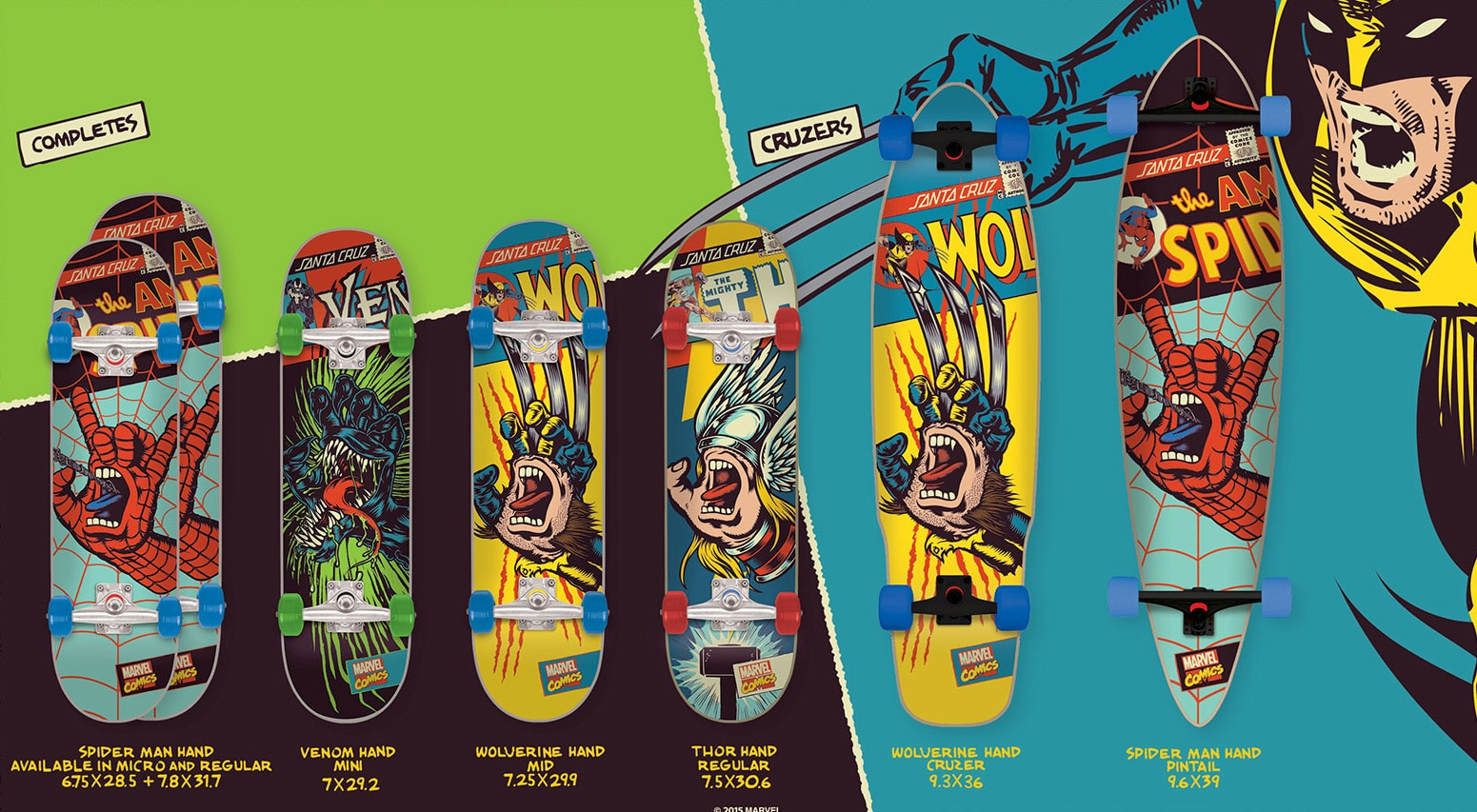 Santa Cruz Marvel Complete Boards and Cruzers
