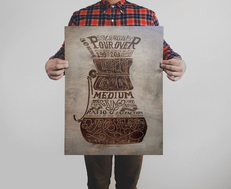 Pour Over Coffee Print Wood Variant