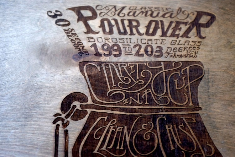 Pour Over Coffee Print Wood Detail 1