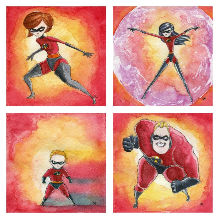 The Incredibles Watercolor Prints